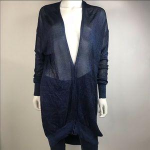 Alexander Wang blue shimmer sheer knit cardigan